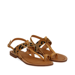 Sandali infradito beige in eco-pelle con dettaglio leopard, Primadonna, 135201202EPBEIG035, 002a