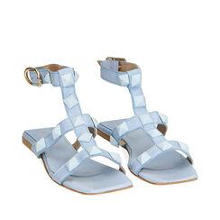 Sandalias celeste de cuero, Primadonna, 17L602302PECELE035, 002a