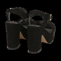 Sandali neri in microfibra, tacco zeppa 11 cm, Scarpe, 154968033MFNERO, 004 preview