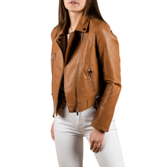 Biker jacket cuoio, Special Price, 156501128EPCUOIS, 001a