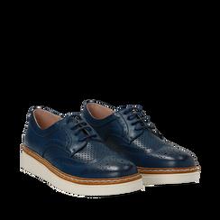 Stringate flatform blu in eco-pelle, Scarpe, 133009503EPBLUE036, 002a