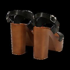 Sandali platform neri in eco-pelle con due fasce, tacco 12 cm , Saldi Estivi, 132147761EPNERO035, 004 preview