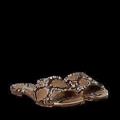 Mules flat beige in eco-pelle, effetto snake skin , Saldi Estivi, 134989113PTBEIG035, 002a