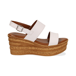 Sandali platform bianchi in eco-pelle, zeppa 8 cm , Primadonna, 13A133255EPBIAN035, 001 preview