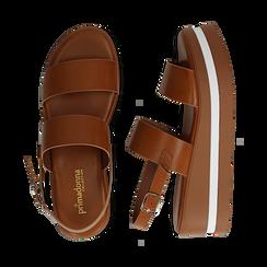 Sandali platform cuoio in eco-pelle, zeppa 5 cm , Primadonna, 132147512EPCUOI036, 003 preview