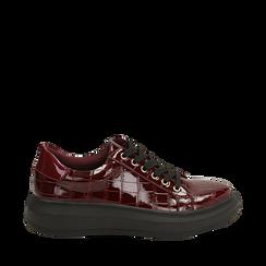 Sneakers bordeaux in vernice effetto coccodrillo, suola 4 cm , Scarpe, 142019051VEBORD035, 001a