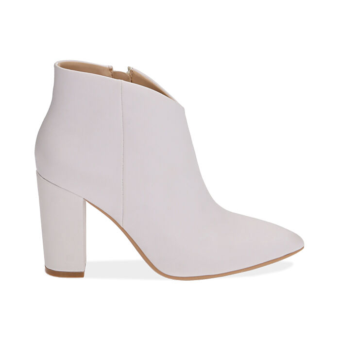 Ankle boots bianchi, tacco 9,5 cm , Scarpe, 174916101EPBIAN037