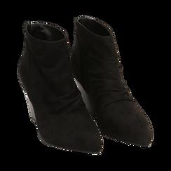 Ankle boots neri in microfibra, tacco 7,50 cm, Promozioni, 160598311MFNERO036, 002 preview