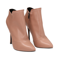 Ankle boots nude in eco-pelle, tacco 10, 50 cm , Scarpe, 142146864EPNUDE035, 002 preview