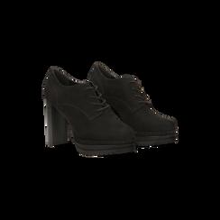 Francesine stringate scamosciate nere, tacco alto e plateau, Scarpe, 128403192MFNERO, 002 preview