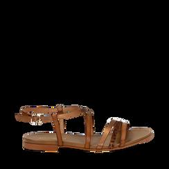 Sandali cuoio in eco-pelle, Primadonna, 13B915126EPCUOI035, 001a