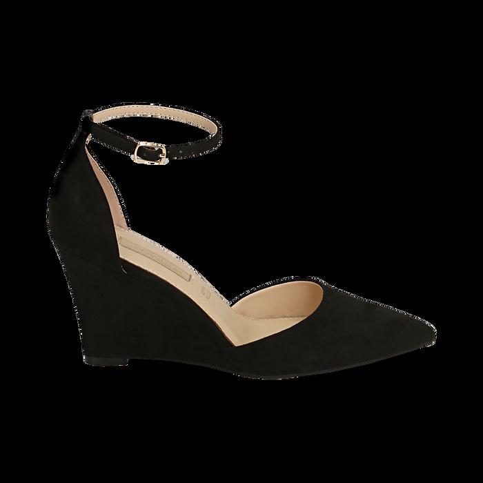 Décolleté en microfibra color negro, cuña 8,5 cm , Zapatos, 152151841MFNERO038
