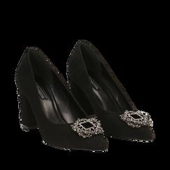 Décolleté nere in microfibra con fibbia gioiello, tacco 8 cm , Scarpe, 144941191MFNERO035, 002a