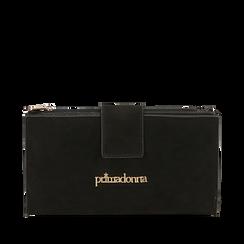 Portafogli nero in microfibra , Primadonna, 165122158MFNEROUNI, 001a