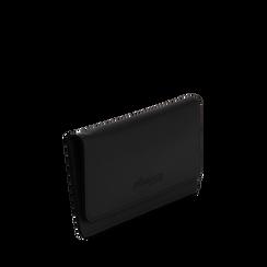 Portafoglio nero in eco-pelle con laccetto per il polso, Borse, 133723651EPNEROUNI, 002a