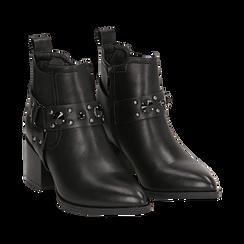 Camperos neri in eco-pelle con borchie, tacco 6,5 cm , Stivaletti, 143020502EPNERO036, 002 preview