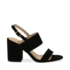 Sandali neri in microfibra con doppia fascia, tacco quadrato 9 cm, Sandali con tacco, 132177304MFNERO035, 001a
