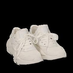 Dad shoes en tejido tecnico color blanco, Zapatos, 15F609059TSBIAN035, 002a