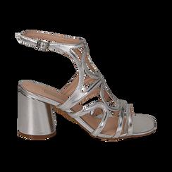 Sandali cage argento in laminato, tacco 8 cm,