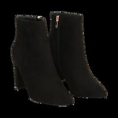 Ankle boots neri in microfibra, tacco 8,5 cm , Scarpe, 144925791MFNERO036, 002 preview