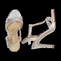 Sandalo argento in laminato, tacco 10,50 cm, Sandali con tacco, 132127402LMARGE036, 003 preview
