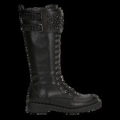 Stivali neri con perle e fibbie dark, tacco 3,5 cm, Primadonna, 12A772521EPNERO036, 001a
