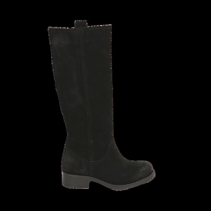 scarpe di separazione 53a11 bf933 Stivali neri in camoscio, tacco 4 cm