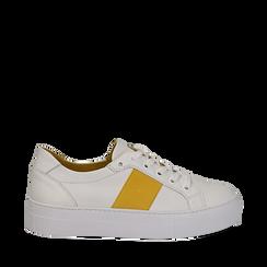 Sneakers bianco/gialle in pelle, Scarpe, 137720413PEBIGI035, 001a