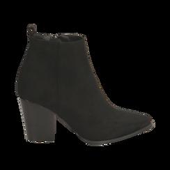 Ankle boots neri in microfibra, tacco 8,50 cm, Primadonna, 160585965MFNERO035, 001 preview