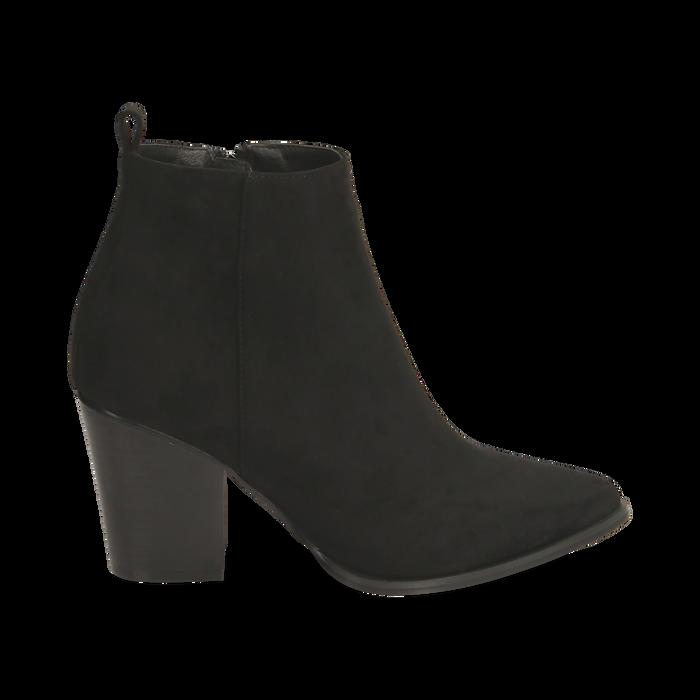 Ankle boots neri in microfibra, tacco 8,50 cm, Primadonna, 160585965MFNERO035