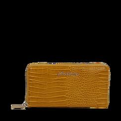 Portafogli giallo in eco-pelle effetto cocco , Borse, 142200896CCGIALUNI, 001a