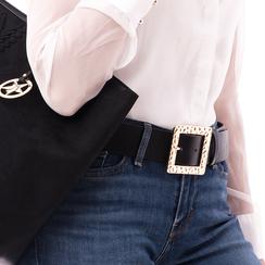 Cintura nera in eco-pelle con fibbia oro, Abbigliamento, 14B410810EPNEROUNI, 002a