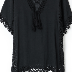 Caftano corto nero con lavorazione macramè, Abbigliamento, 13A345078TSNEROUNI, 002a