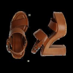 Sandali platform cuoio in eco-pelle con due fasce, tacco 12 cm , Saldi, 132147761EPCUOI035, 003 preview