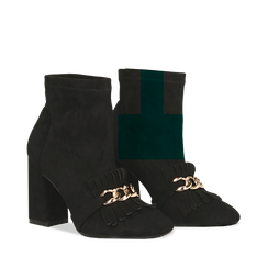 Tronchetti neri con catena e frange, tacco 9,5 cm, Primadonna, 122186592MFNERO035, 002a