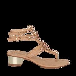 Sandali gioiello infradito nude in microfibra, tacco 6 cm, Primadonna, 134986238MFNUDE035, 001a