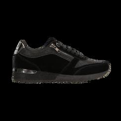 Sneakers nere velluto e dettagli metal, Scarpe, 120127903VLNERO, 001 preview