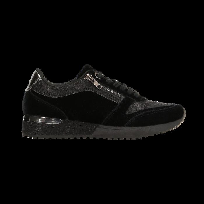 Sneakers nere velluto e dettagli metal, Scarpe, 120127903VLNERO