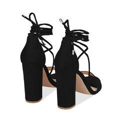 Sandali lace-up neri in microfibra, tacco 10,5 cm , Primadonna, 172760851MFNERO036, 004 preview