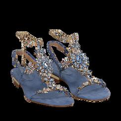 Sandali gioiello flat azzurri in microfibra, Primadonna, 134994222MFAZZU035, 002a