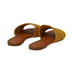 Mules flat gialle in eco-pelle intrecciata, Primadonna, 133600110EIGIAL036, 004 preview