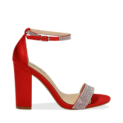 Sandali rossi in raso con mini cristalli, tacco 10,5 cm, Scarpe, 132150553RSROSS035, 001a