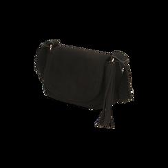 Borsa a tracolla nera in microfibra , IDEE REGALO, 165123105MFNEROUNI, 002 preview