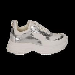 Dad shoes blanche/argent en simili-cuir, Chaussures, 15K429169EPBIAR036, 001 preview
