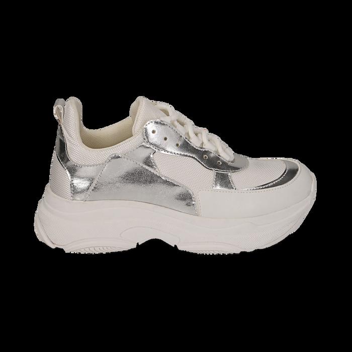 Dad shoes en eco-piel color blanco/plateado, Zapatos, 15K429169EPBIAR036