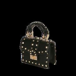 Mini bag borchiata nera , Borse, 165131451EPNEROUNI, 002a