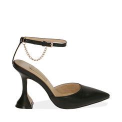Sandalias de microfibra negra, tacón 9,5 cm, Primadonna, 172190575EPNERO035, 001a