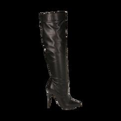 Overknee neri in eco-pelle, tacco 11,5 cm , Stivali, 142160055EPNERO035, 001a