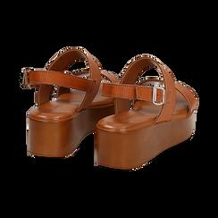 Sandali platform cuoio in eco-pelle, zeppa 5 cm , Saldi Estivi, 13A133254EPCUOI039, 004 preview