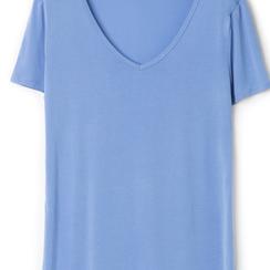 T-shirt con scollo a V blu in tessuto, Saldi Estivi, 13F750713TSBLUEL, 002a